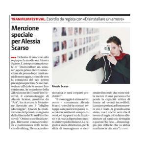 Alessia Scarso regista italiana donna cortometraggio disinstallare un amore montatrice menzione speciale giornale di sicilia