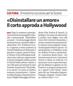 Alessia Scarso regista italiana donna cortometraggio disinstallare un amore hollywood giornale di sicilia
