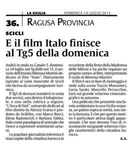 Alessia Scarso regista italiana donna film Italo scicli rassegna stampa marco bocci tg5 la sicilia