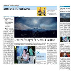 Alessia Scarso astrofotografa etna eclissi di luna astronomy photographer of the year royal observatory greenwich londra la sicilia